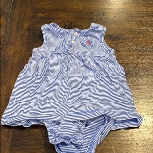 Baby Girl Blue and White Striped Dress